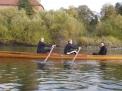 Lisa Bergstermann, Peter Puppe und Lutz Ackermann auf der Weser am Gut Ohsen.