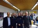 Schulleiter Helmut Brandebusemeyer, Polizeikommissar Dennis Schuchard, Polizeioberkommissar Nils Wieneke und Protektor Peter Tholl.