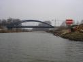 Das Sperrschild an der Hafenausfahrt Richtung Haster Schleuse.